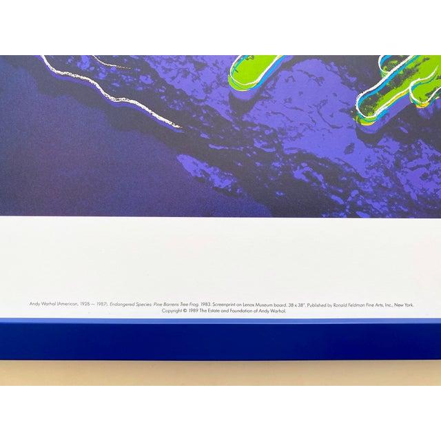 """Navy Blue Andy Warhol Estate Vintage 1989 Endangered Species Framed Lithograph Print """" Pine Barrens Tree Frog """" 1983 For Sale - Image 8 of 13"""