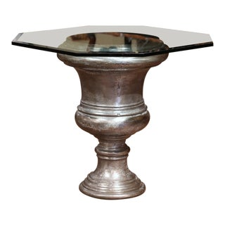 19th Century French Polished Cast Iron Urn Shape Table With Octagonal Glass Top For Sale