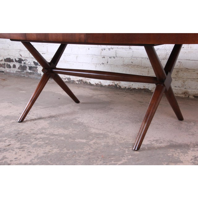 Robsjohn Gibbings for Widdicomb X-Base Walnut Dining Table, Newly Restored For Sale In South Bend - Image 6 of 11