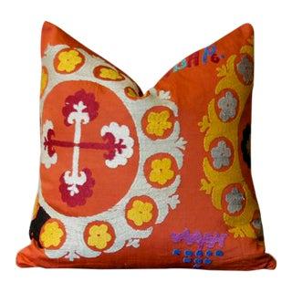 Vintage Mogara Suzani Throw Pillow For Sale