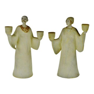 Vintage Ceramic Figural Candle Holders- A Pair For Sale
