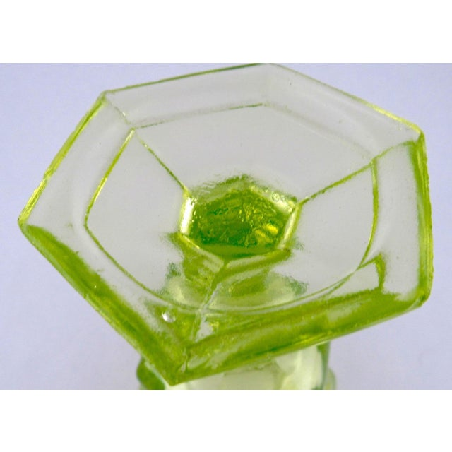 Green Antique Imperial Russian Uranium Glass Goblet and Saucer For Sale - Image 8 of 12