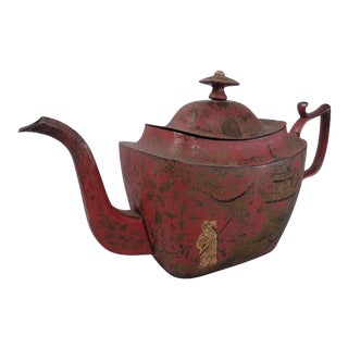 Antique Georgian Red Tole Peinte or Toleware Teapot with Chinoiserie Decoration For Sale