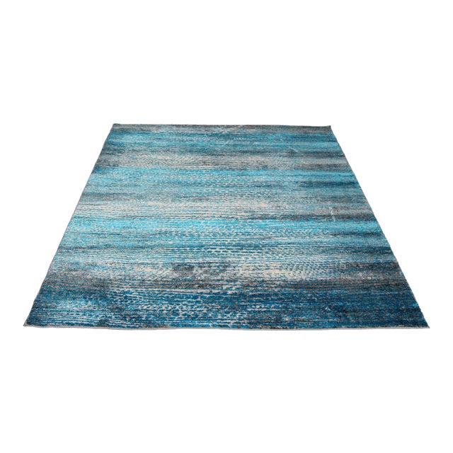 'Ocean' Blue Contemporary Rug 5'3''x 7'7'' - Image 1 of 5