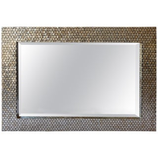 Black and Mother of Pearl Framed Mirror For Sale