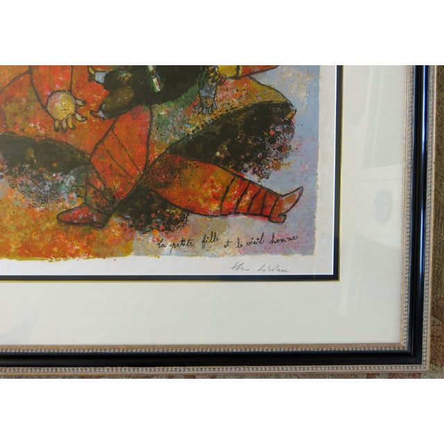 """The School of Paris Theo Tobiasse """"The Little Girl and The Old Man"""" Lithograph For Sale - Image 3 of 6"""