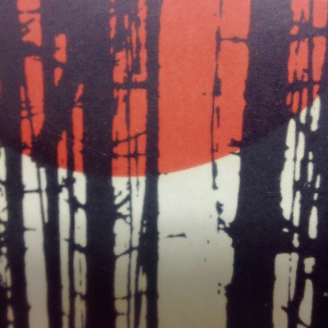 Monochrome Forest Screen Print with Red Sun - Image 5 of 6