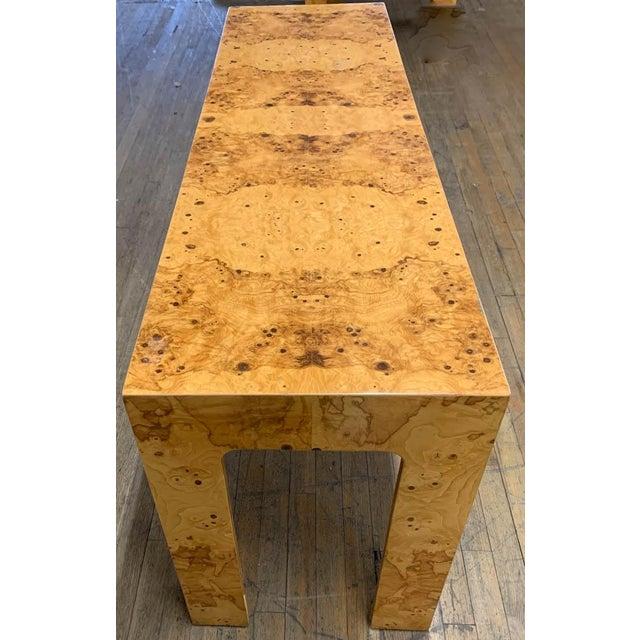 Milo Baughman Mid Century Burl Wood Baughman Parsons Console Table For Sale - Image 4 of 9