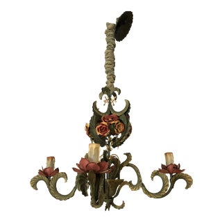 1950s Italian Metal Flower Chandelier Light For Sale