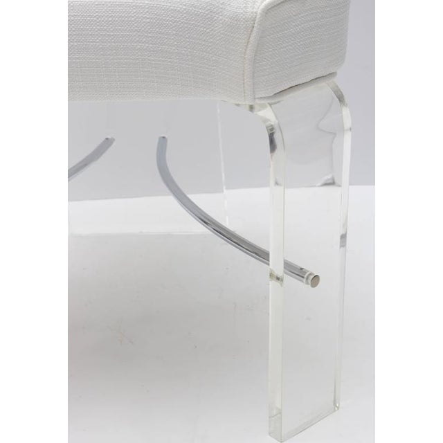 Lucite & Chrome Dining Chairs With White Upholstery - Set of 6 For Sale In West Palm - Image 6 of 9