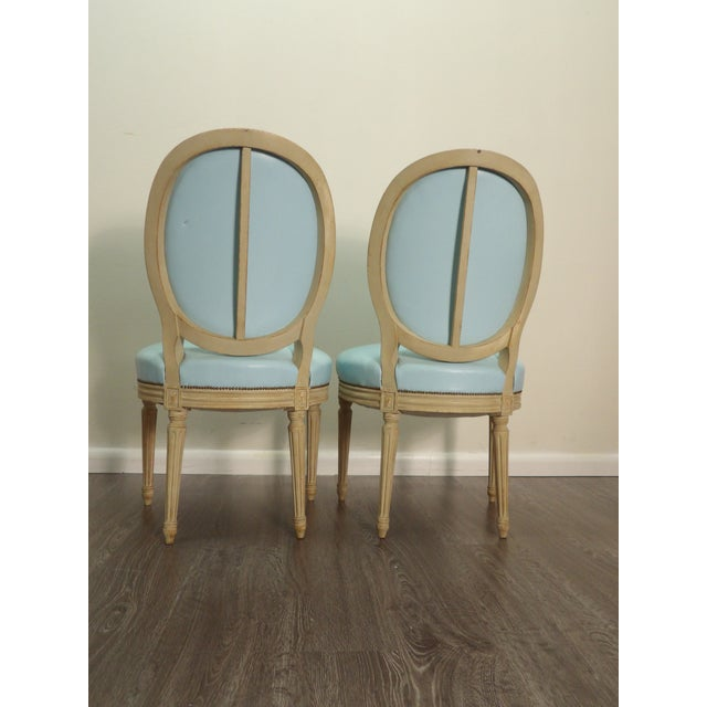 Tiffany Blue Classic Balloon Back Chairs With Tiffany Blue Leather Upholstery - a Pair For Sale - Image 8 of 9