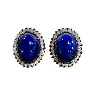 Large 14k Gold Lapis Lazuli, Diamond Sapphire Clip Earrings For Sale