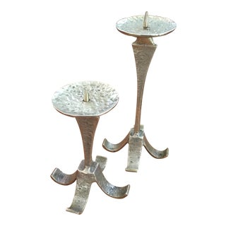 Mid-Century Brutalist Hammered Brass Candle Holders - a Pair For Sale