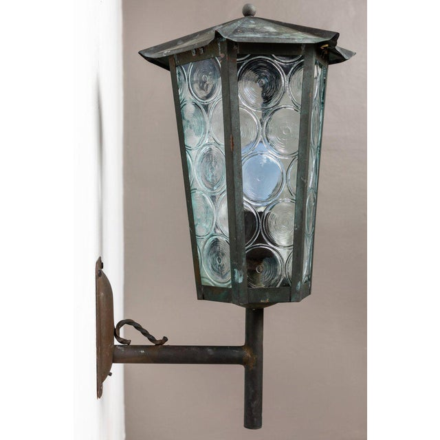 1950s 1950s Large Scandinavian Outdoor Wall Lights in Patinated Copper and Glass For Sale - Image 5 of 11