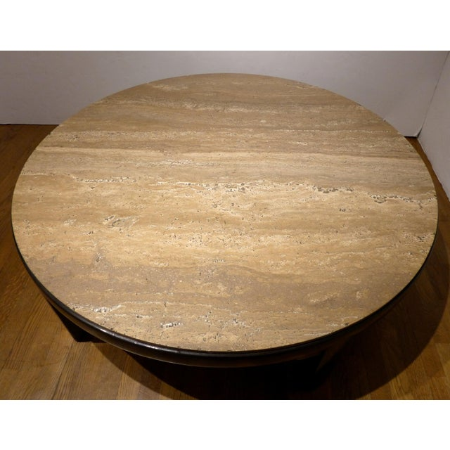 Edward Wormley Cocktail Table with Travertine Top - Image 5 of 9