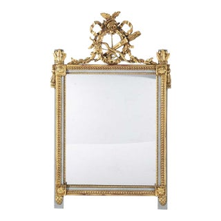 Antique Louis XVI Style Giltwood & Paint Decorated Mirror W Swedish Gray For Sale