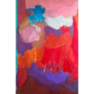 """1960s Vintage """"Pinks, Purples, Reds"""" Abstract Painting by Elsa Schachter For Sale"""