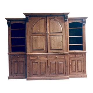 Vintage Handcrafted Pine Library - 3 Pieces For Sale