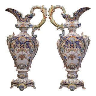 Pair of 19th Century French Hand Painted Faience Ewers Jars From Rouen For Sale