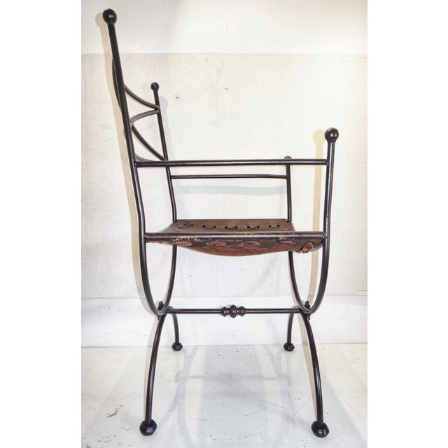 1960s Vintage Italian Iron and Leather Curule Chairs - A Pair For Sale - Image 9 of 10