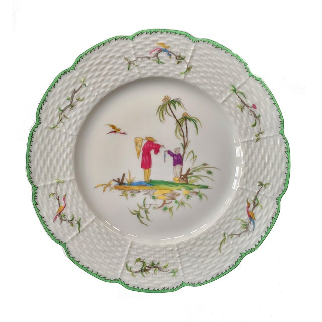 A set of five porcelain dessert plates by Raynaud of Limoges, France and decorated in the Chinoiserie taste. Inspired by...