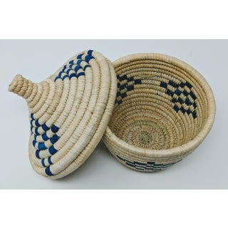 Blue & Natural Rattan Woven African Basket Preview
