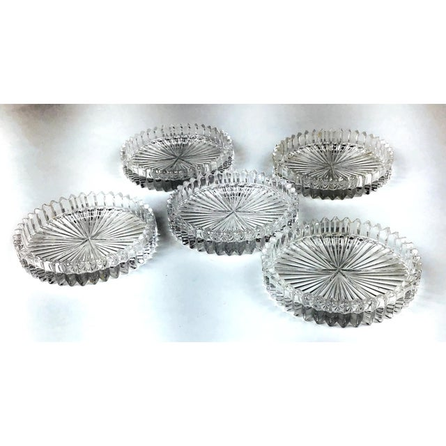 1950s Mid Century Cut Glass Drink Coasters - Set of 5 For Sale - Image 5 of 8