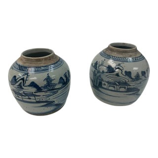 Chinese Porcelain Jardiniere Planters, Hand Painted in Blue and White - a Pair For Sale
