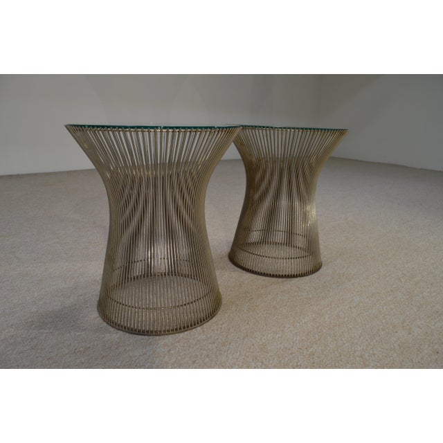 Warren Platner for Knoll Nickel & Glass Side Tables - A Pair - Image 2 of 5