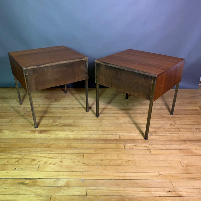 Pair Edmund Spence Walnut and Brass End Tables, Sweden 1945 For Sale - Image 10 of 11