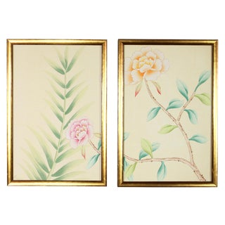 Chinoiserie Wallpaper Floral Garden Detail Diptych Paintings on Palest Yellow Silk - 2 Pieces For Sale