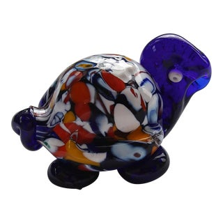 1920-1930's Cobalt Blue Murano Tortoise by Toso For Sale
