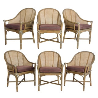 1980s Mid-Century Modern McGuire Rattan & Cane Dining Chairs - Set of 6