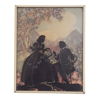 1930's Courting Couple Scene Painted Glass