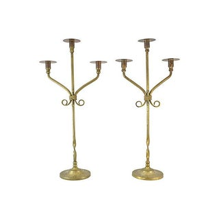 """Antique 21"""" Brass Candle Holders - a Pair For Sale"""