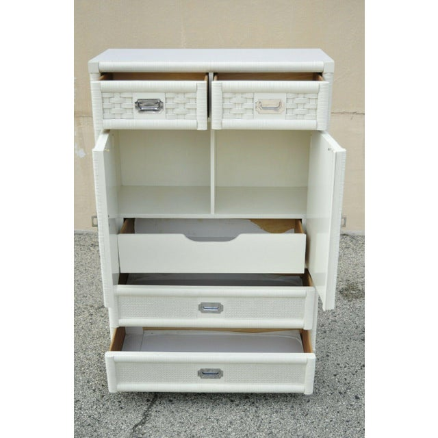 Mid 20th Century Vintage Dixie Cane Rattan Campaign Style White Tall Chest Armoire Dresser Cabinet For Sale - Image 5 of 13