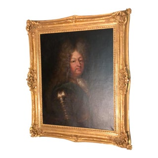Large Antique 17th Century Louis XIV en Armour Portrait Oil Painting Framed by Straure For Sale