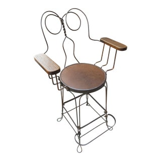 1920s Vintage Mill-Rolled Iron Rod Armchair Bar Stool For Sale