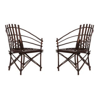 Rustic Adirondack Willow Arm Chairs For Sale