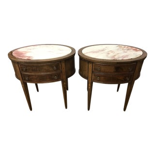 1940s French Oval Marble Top Mahogany Nightstands - a Pair