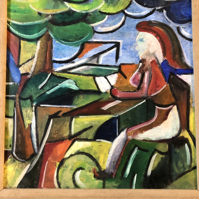 Expressionism Original Modernist Figure in Landscape Painting Framed For Sale - Image 3 of 9