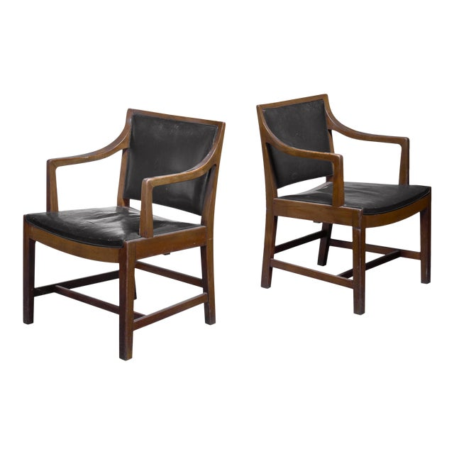 Pair of Kay Fisker Attributed Armchairs in Dark Green Leather For Sale