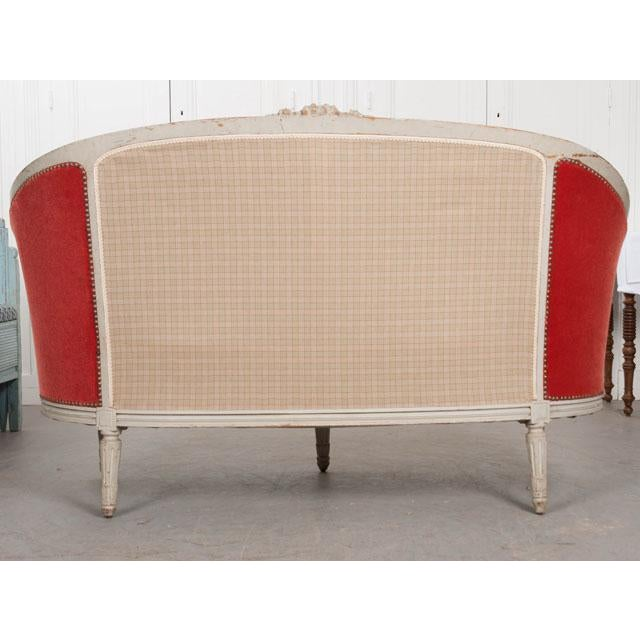 French 19th Century Painted Louis XVI Style Settee For Sale - Image 10 of 11