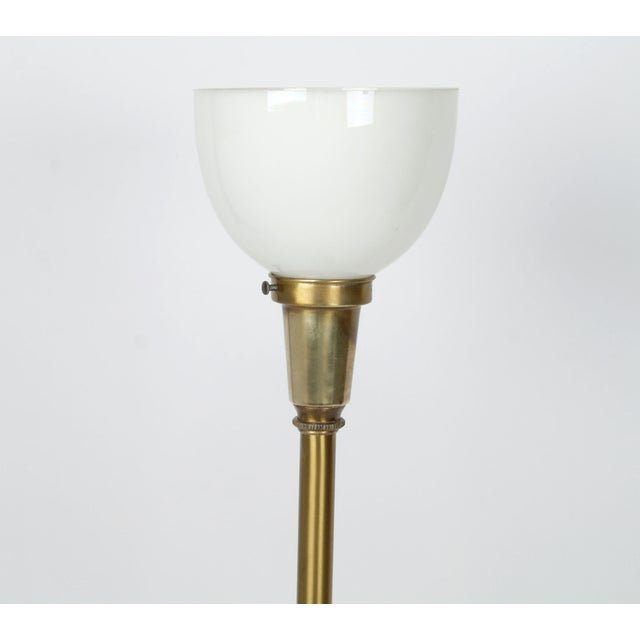 Heavy Brass & Milk Glass Globe Lamp For Sale - Image 5 of 10
