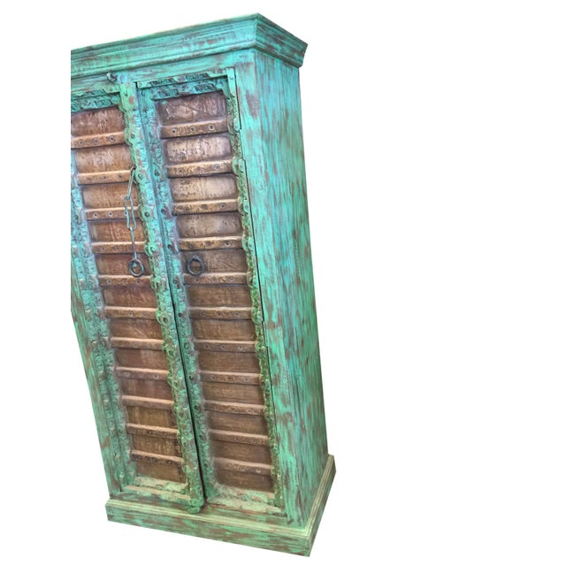 Mid 19th Century 1920s Jaypur Grounding Brass Vintage Green Patina Old Doors Storage Kitchen Cabinet For Sale - Image 5 of 8