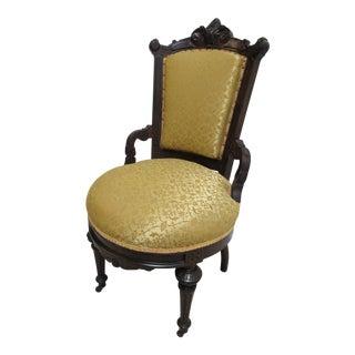 Antique Victorian Eastlake Carved Dining Room Side Desk Chair For Sale