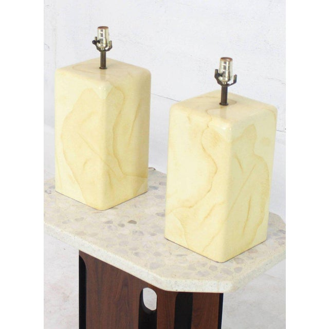 Faux Parchment Goatskin Table Lamps - a Pair For Sale - Image 6 of 7