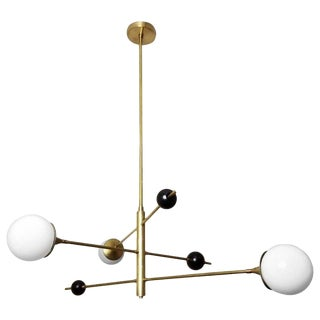Blueprint Lighting Orbital Black Enamel, Glass & Bronze Three-Arm Pendant For Sale