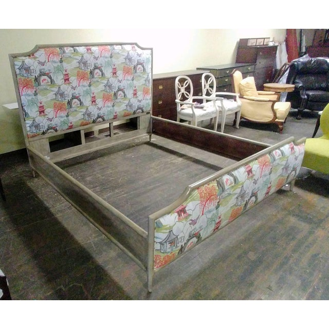 Henredon Furniture 1945 Collection Catherine Grey Makore Queen Panel Bed with Chinoiserie Fabric For Sale - Image 11 of 12