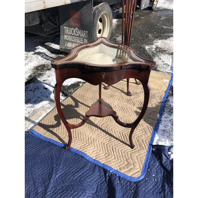 Mahogany and Glass Triangular Display Table Vitrine For Sale - Image 13 of 13